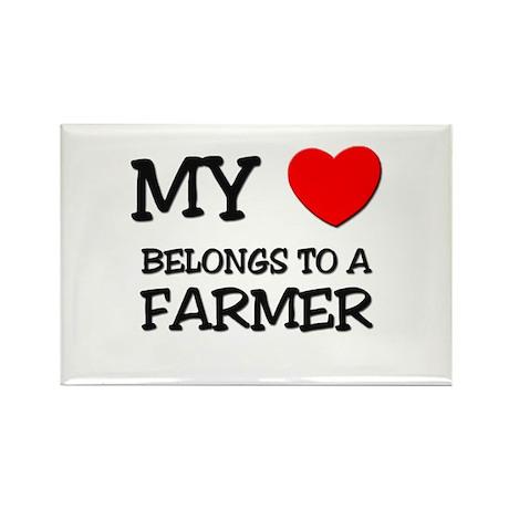 My Heart Belongs To A FARMER Rectangle Magnet