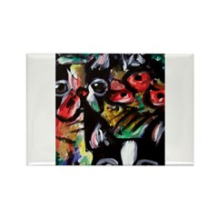 Boston Terrier Abstract Rectangle Magnet (100 pack