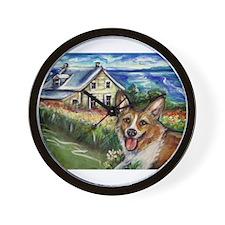 Happy Corgi home sweet home Wall Clock