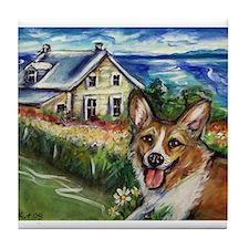 Happy Corgi home sweet home Tile Coaster