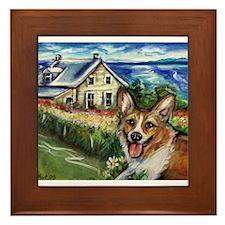 Happy Corgi home sweet home Framed Tile