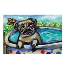 Pug eyes butterfly Postcards (Package of 8)