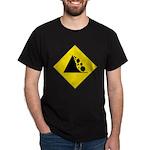 Falling Rocks Sign Black T-Shirt