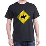 Horse Crossing Sign Black T-Shirt