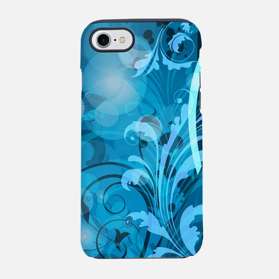 Blue Abstract Floral (3G).png iPhone 7 Tough Case