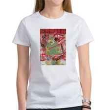 Christmas Tree Collage womens t-shirt red,green,f