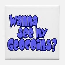 Wanna see my Geocoins? Tile Coaster
