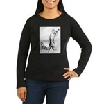 Springing Cat Women's Long Sleeve Dark T-Shirt