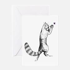 Springing Cat Greeting Card