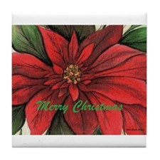 Cute Poinsettia Tile Coaster