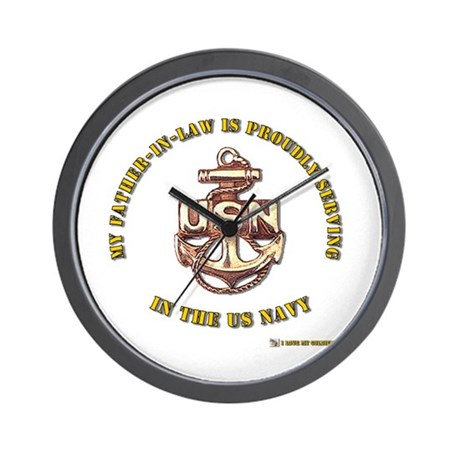 Navy Gold Father in Law Wall Clock