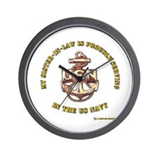 Navy Gold sister in Law Wall Clock