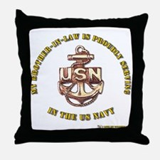 Navy gold Brother in Law Throw Pillow