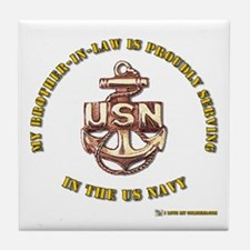 Navy gold Brother in Law Tile Coaster