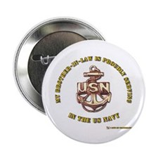 """Navy gold Brother in Law 2.25"""" Button"""