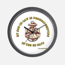 Navy Gold Son in Law Wall Clock