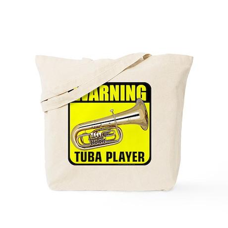Warning: Tuba Player Tote Bag