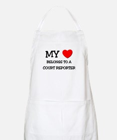 My Heart Belongs To A COURT REPORTER BBQ Apron
