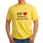 My Heart Belongs To A CORRECTIONS OFFICER Yellow T