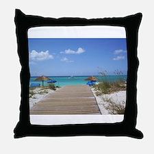 Caribbean boardwalk Throw Pillow