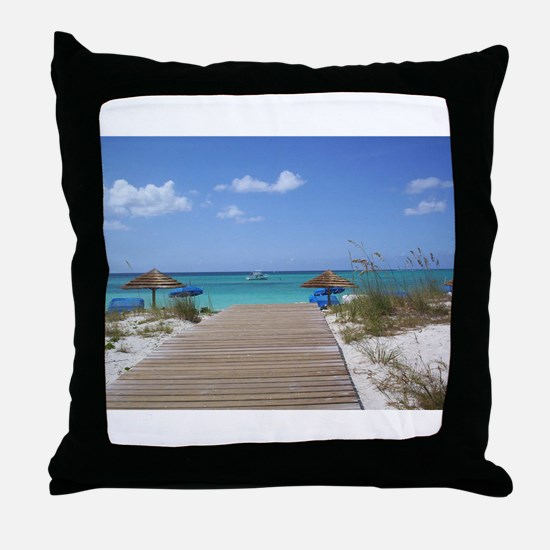 Caribbean boardwalk Throw Pillow