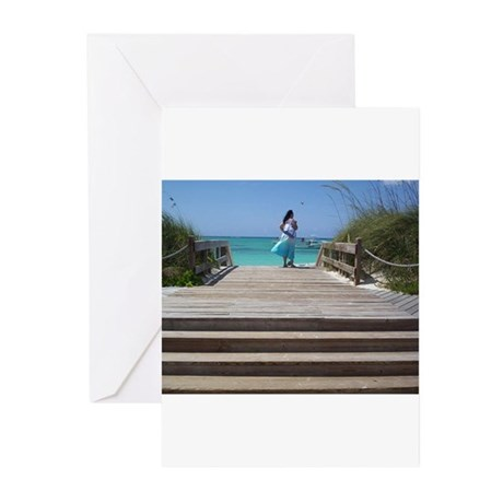 Looking out over ocean Greeting Cards (Pk of 20)