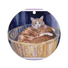 Two cats in a basket Ornament (Round)