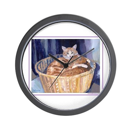 Two cats in a basket Wall Clock