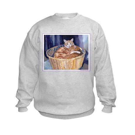 Two cats in a basket Kids Sweatshirt