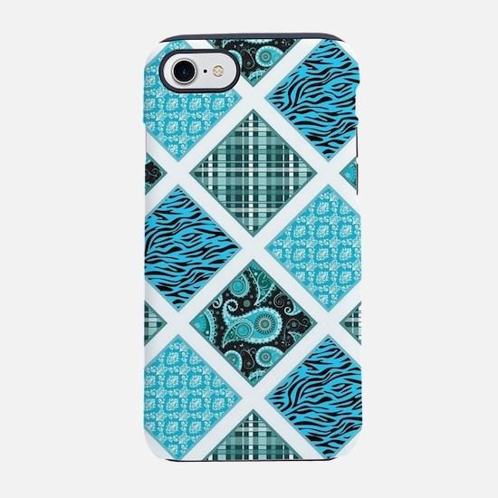 BLUE CRAZY QUILT iPhone 7 Tough Case