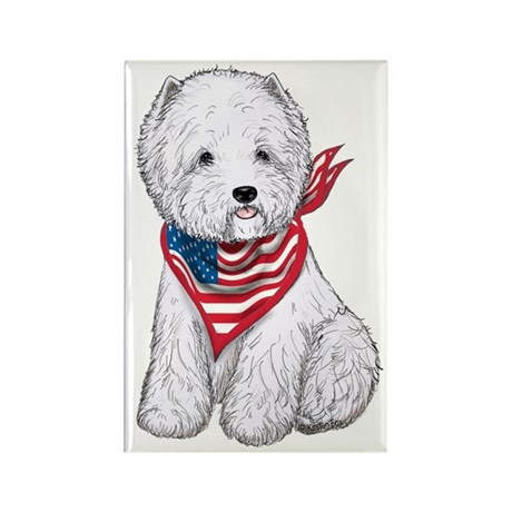 Stars & Stripes Westie Rectangle Magnet (10 pack)