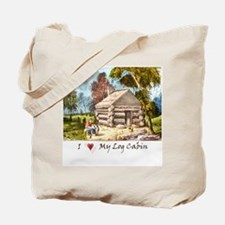 Mountain Log Cabin Color Tote Bag