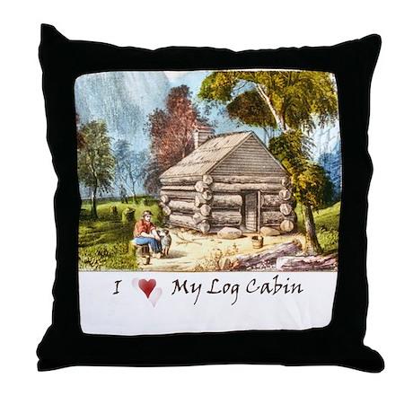 Mountain Log Cabin Color Throw Pillow