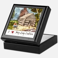 Mountain Log Cabin Color Keepsake Box