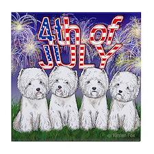 4th of July Westies Tile Coaster