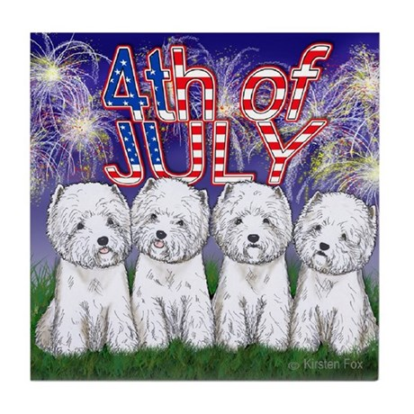4th of July Westies Tile Coaster