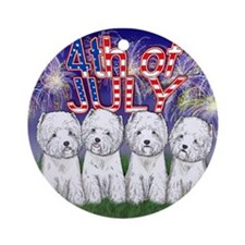 4th of July Westies Ornament (Round)