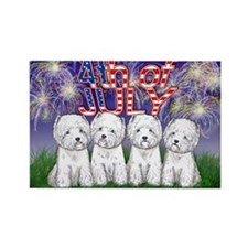 4th of July Westies Rectangle Magnet