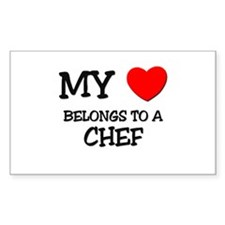 My Heart Belongs To A CHEF Rectangle Decal