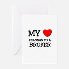 My Heart Belongs To A BROKER Greeting Cards (Pk of