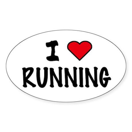 I LOVE RUNNING Oval Sticker