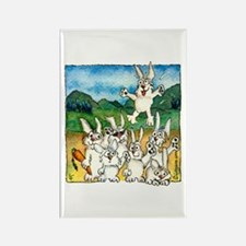 Bunny Rabbits Jump Rectangle Magnet