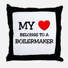 My Heart Belongs To A BOILERMAKER Throw Pillow