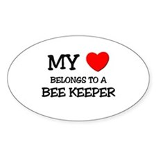 My Heart Belongs To A BEE KEEPER Oval Decal