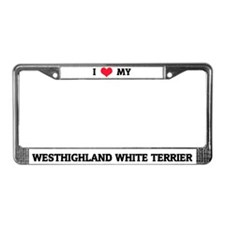 I Love My Westhighland White Terrier License Frame