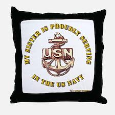 Navy Gold Sister Throw Pillow