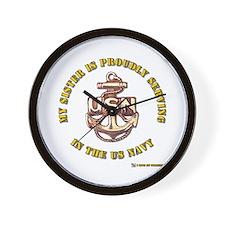 Navy Gold Sister Wall Clock