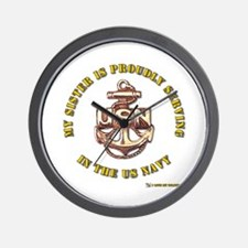 Navy Gold Sister Wall Clock