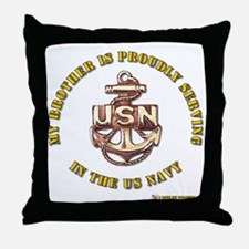 Navy gold Brother Throw Pillow