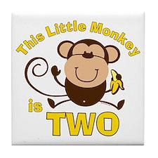 Little Monkey 2nd Birthday Boy Tile Coaster